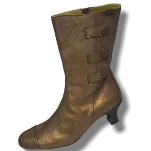 """CAMPER 11"""" HEELED LEATHER BRONZE BOOTIES SIZE 7.5"""